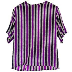 VINTAGE Anne Klein Purple Black Stripe Silk Shell